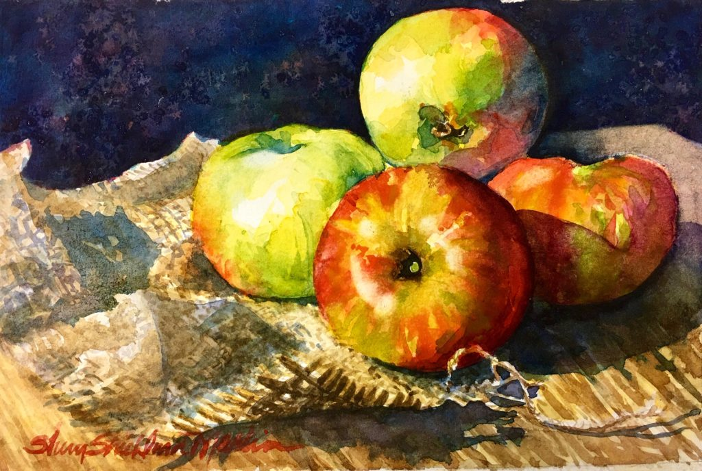 "SOLD ""Indigo & Apples"""