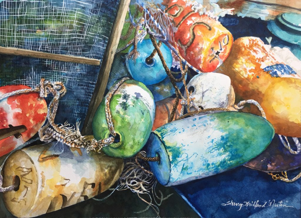 """Bouys on the May"" watercolor Available @ Thibault Gallery Beaufort, SC"