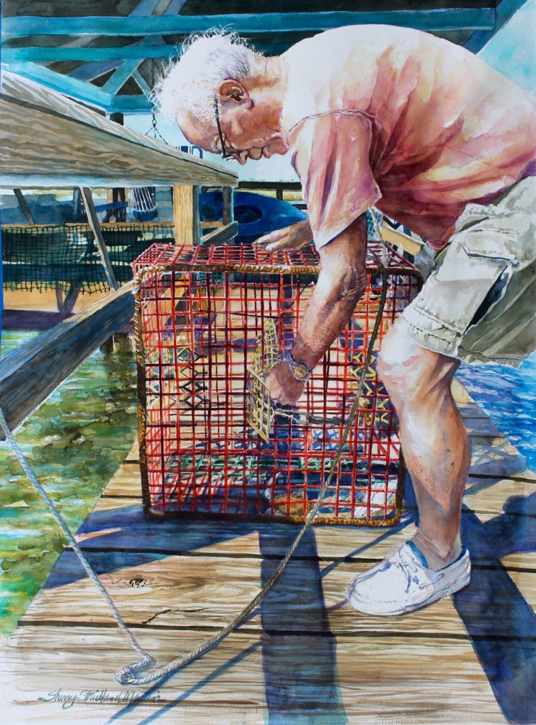 """Crabbing Capers Creek"" watercolor 22"" x 30"""