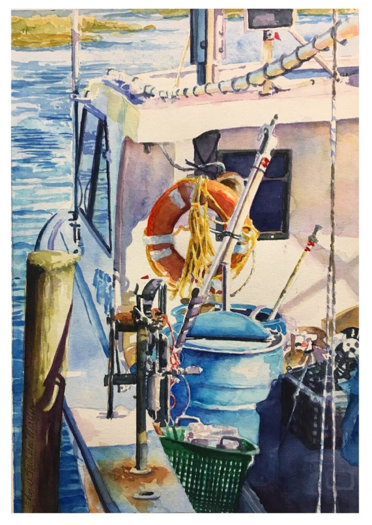 """Fishing the Inlet"" watercolor. 2018 Original available @ Thibault Gallery Beaufort SC"