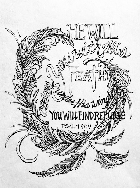 Feathers Psalm 91:4 line