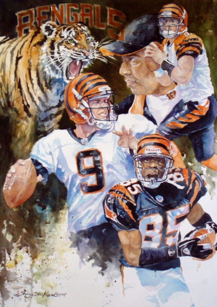 "Commisioned "" Bengals 2003"" watercolor 30"" x 40"""