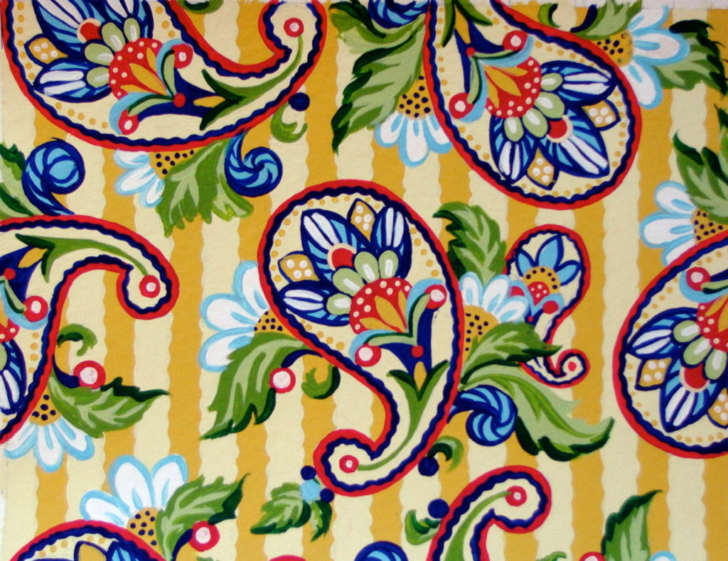 Yellow Stripe Paisley