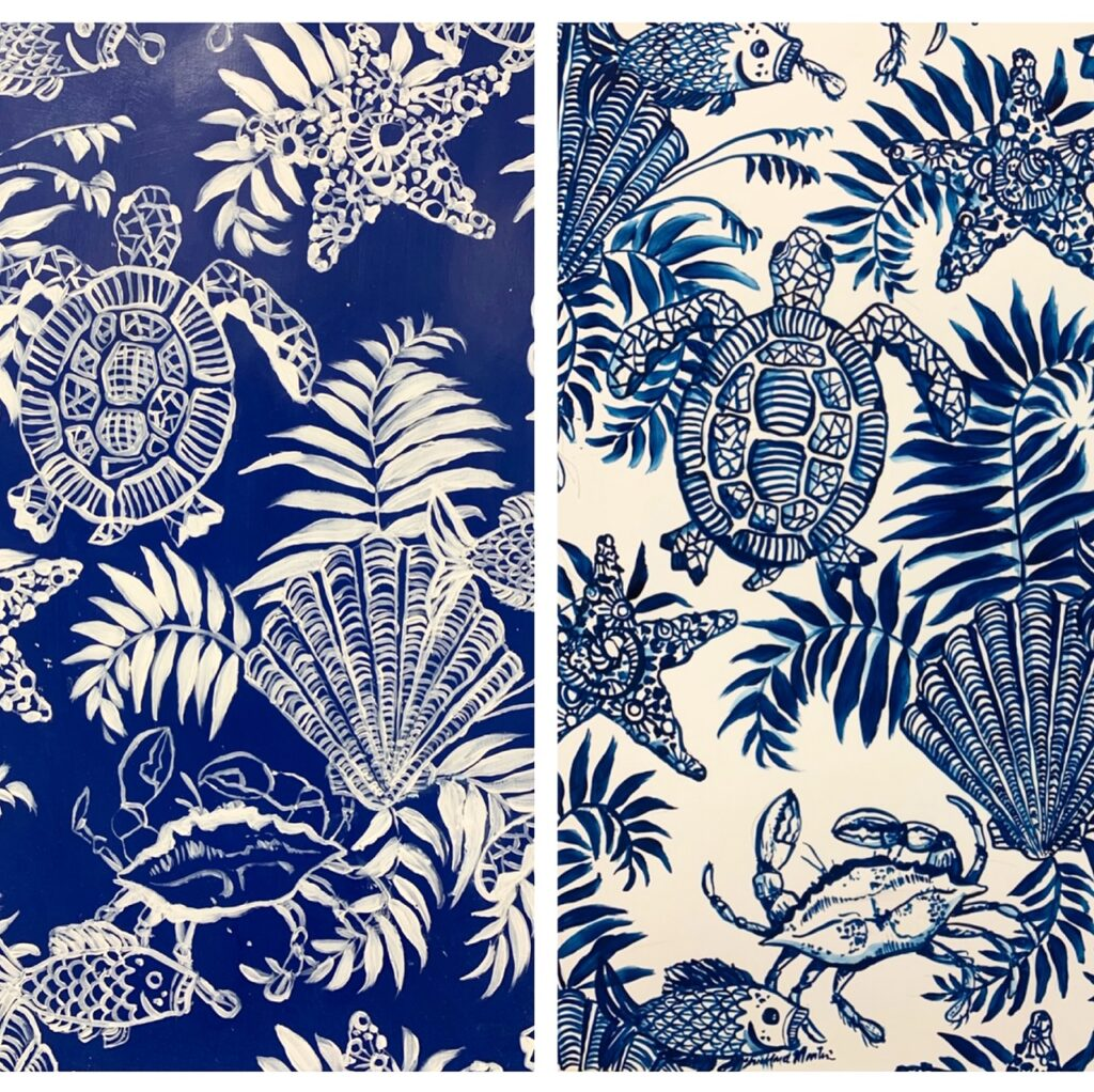 """ Coastal Lowcountry"" Indigo & Reverse Indigo on white"