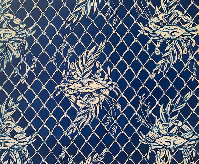 """Blue Crab"" repeat on Indigo ground"