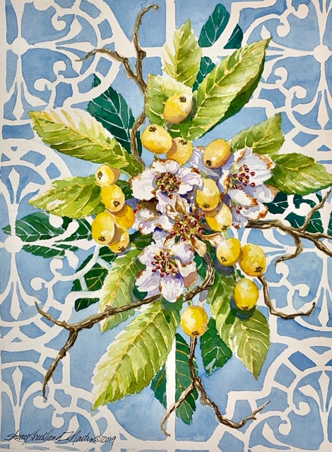 """Lowcountry Loquat"" watercolor c. 2019"