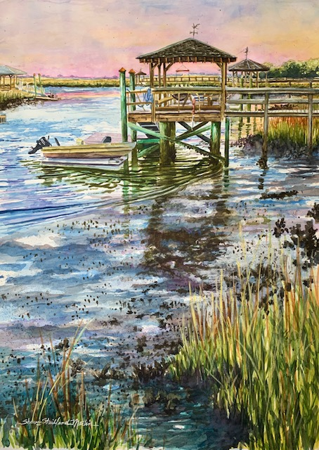 """The Dock Next Door"" Watercolor Image size 22 x 30- giclee prints also available"