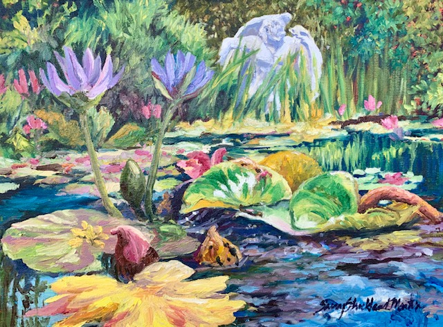 """The Lily Pond"" oils on canvas 24""x 18"" c.2019"