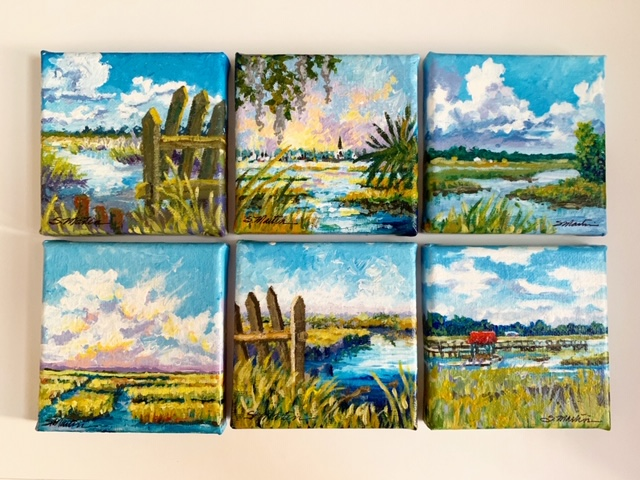 "6 4""x4"" canvas Acrylics Lowcountry Rice Field variations c. 2019 Sold"